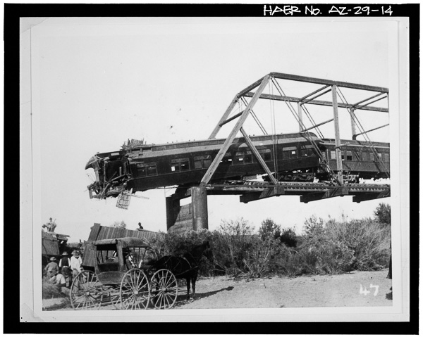 1902-VIEW-SHOWING-TRAIN-WRECK-ON-MARICOPA-AND-PHOENIX-RAILROAD-CAUSED-BY-BRIDGE-FAILURE-RESULTING-FROM-FLOOD-DAMAGE---Ash-Avenue-Bridge-_ Library of Congress