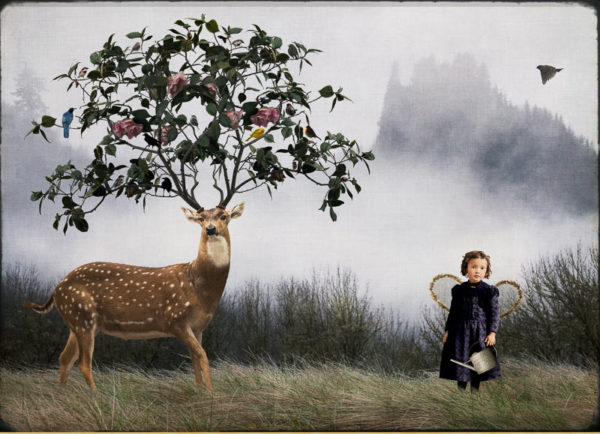 Deer Gardener by Corinne Geertsen, digital art, digital collage